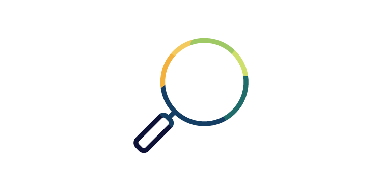 Stylized magnifying glass icon