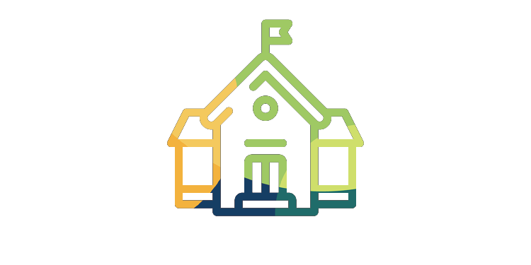 Stylized schoolhouse icon